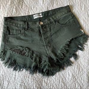 ONE TEASPOON Rollers black denim cutoff shorts 28